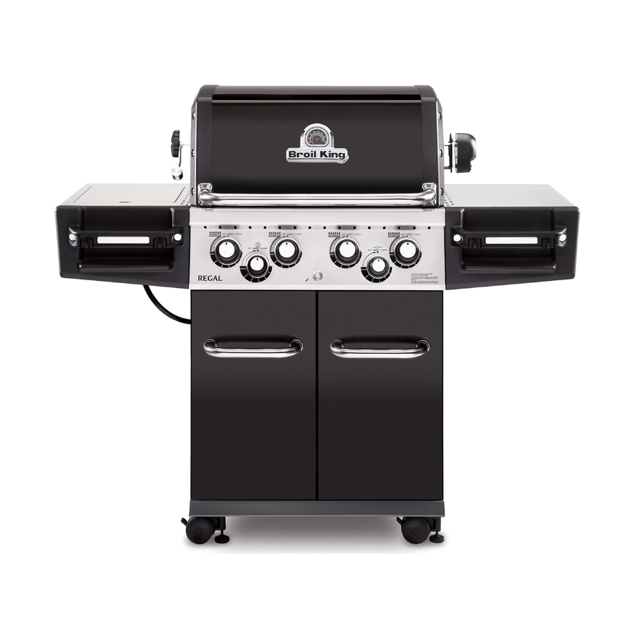 Broil King Regal Black 4-Burner (50,000-BTU) Liquid Propane Gas Grill with Side and Rotisserie Burners
