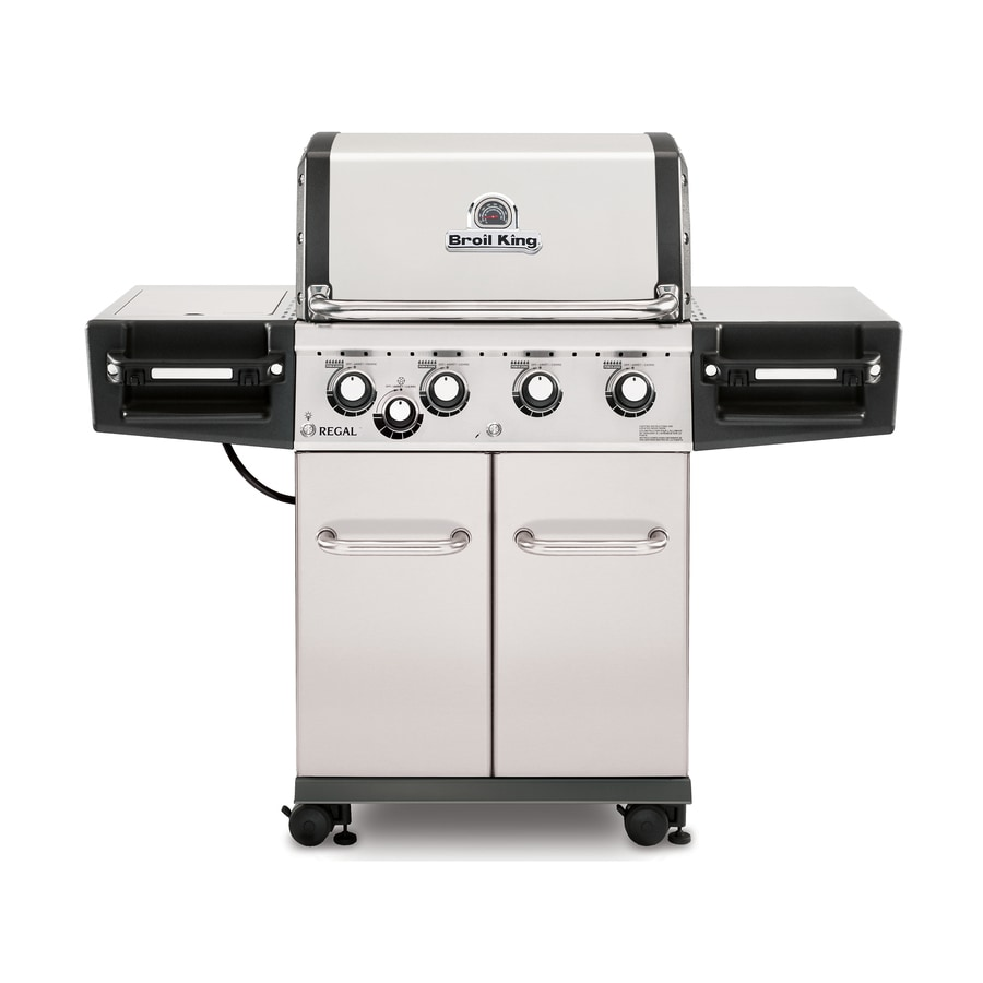 Broil King Regal S440 Pro Stainless Steel 4-Burner (50000-BTU) Liquid Propane Gas Grill with Side Burners