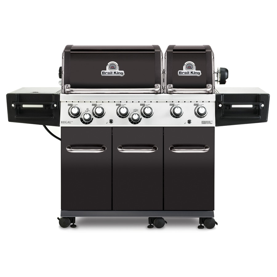 Broil King Regal XL Black Stainless Steel and Black Chrome 6-Burner Liquid Propane Gas Grill with 1 Side Rotisserie Burner