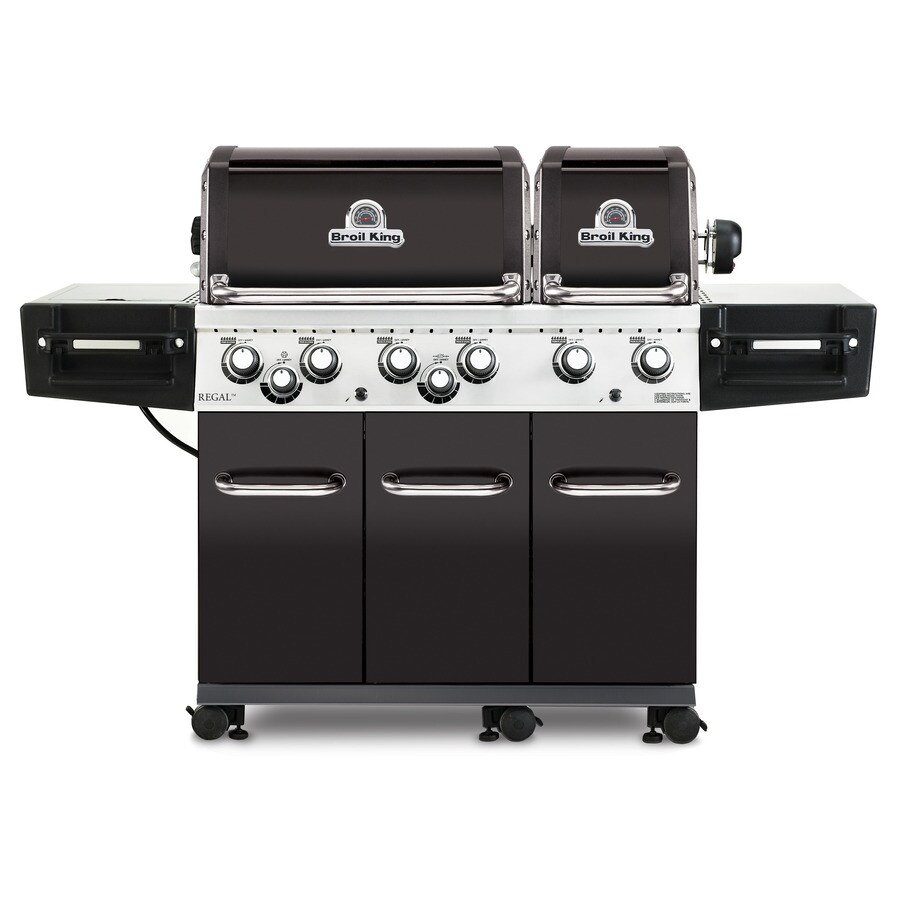 Broil King Regal Black, Stainless Steel, and Black Chrome 6-Burner (60,000-BTU) Natural Gas Grill with Side and Rotisserie Burners