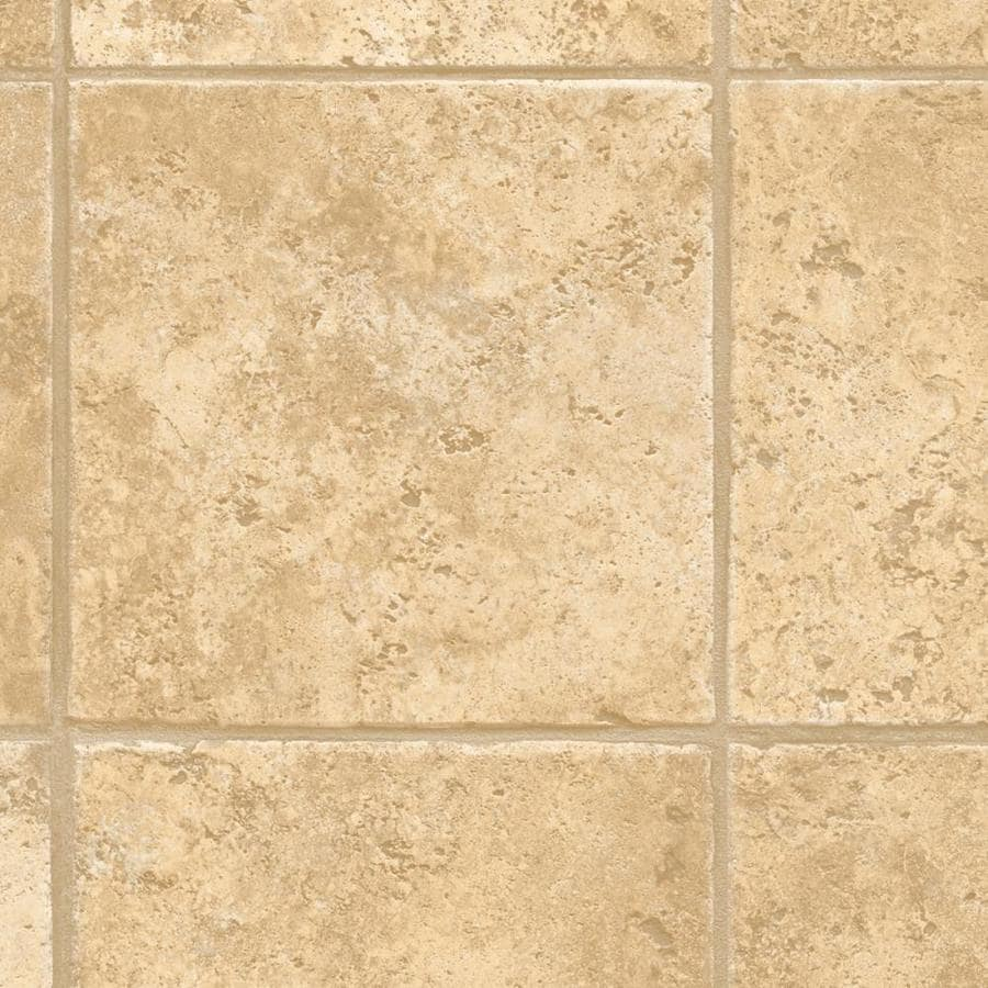 domco 8-ft W x Cut-to-Length Casa Grande Beige Tile Low-Gloss Finish Sheet Vinyl