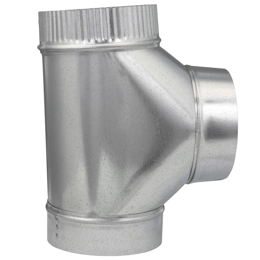 IMPERIAL 6-in dia x 6-in dia x 6-in dia x 10.5-in L Crimped Galvanized Steel Full Flow Duct Tee