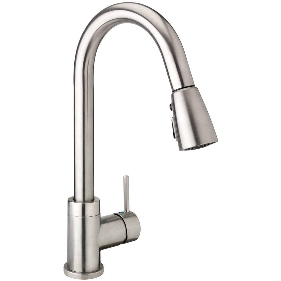 keeney urbania brushed nickel 1 handle pull down kitchen faucet at rh lowes com peerless brushed nickel kitchen faucet brushed nickel kitchen faucet moen