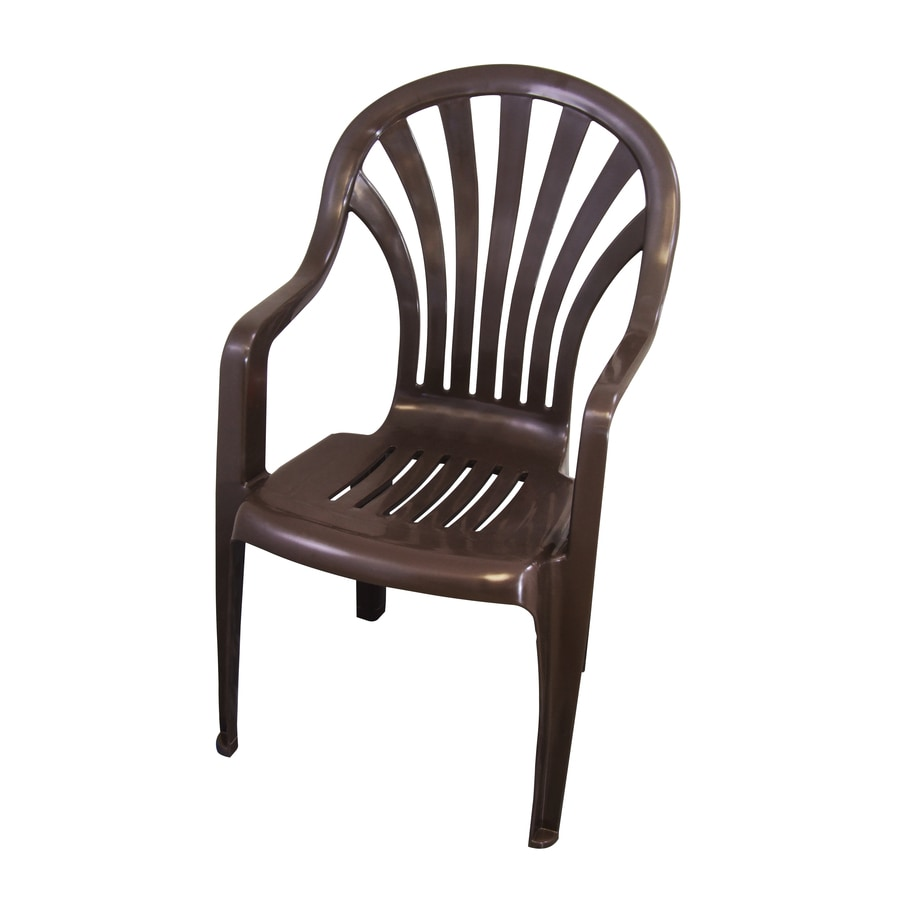 Shop gracious living earth dark brown seat plastic stackable patio dining chair at Plastic outdoor furniture