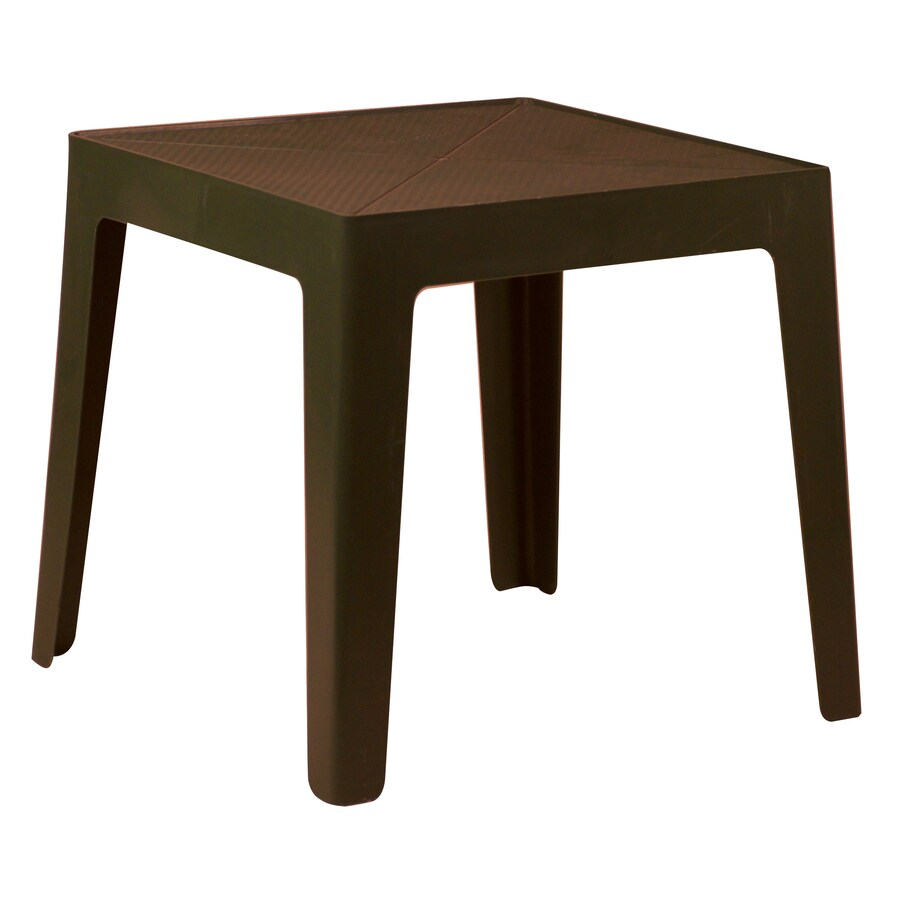 Gracious Living 17.5-in x 17.5-in Brown Resin Square Patio Side Table