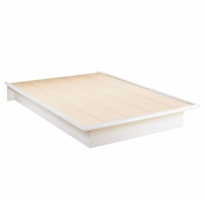 Step One Pure White Full Platform Bed With Storage