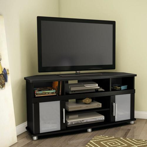 south shore furniture city life pure black corner tv stand