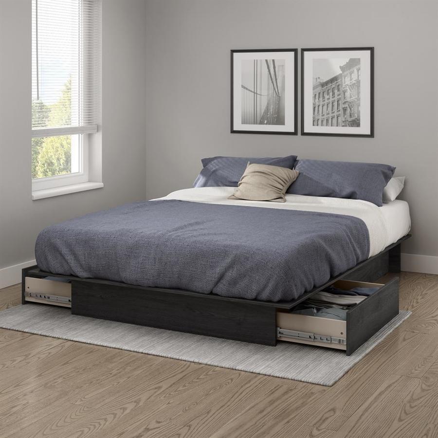 Queen Platform Bed w Molding Grey OAK Furniture Bed No Headboard Wooden NEW