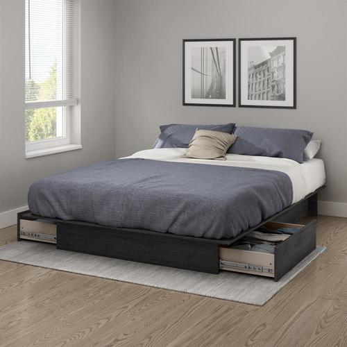 South Shore Furniture Step One Gray Oak Queen Platform Bed With