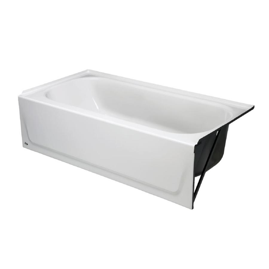 Beau Briggs 30 In White Enameled Steel Rectangular Right Hand Drain Alcove  Bathtub