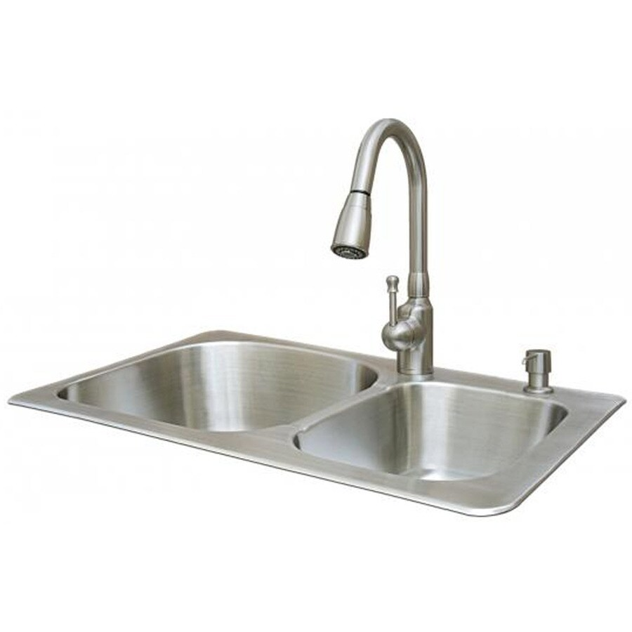 american standard double basin stainless steel topmount kitchen sink with faucet shop american standard double basin stainless steel topmount      rh   lowes com