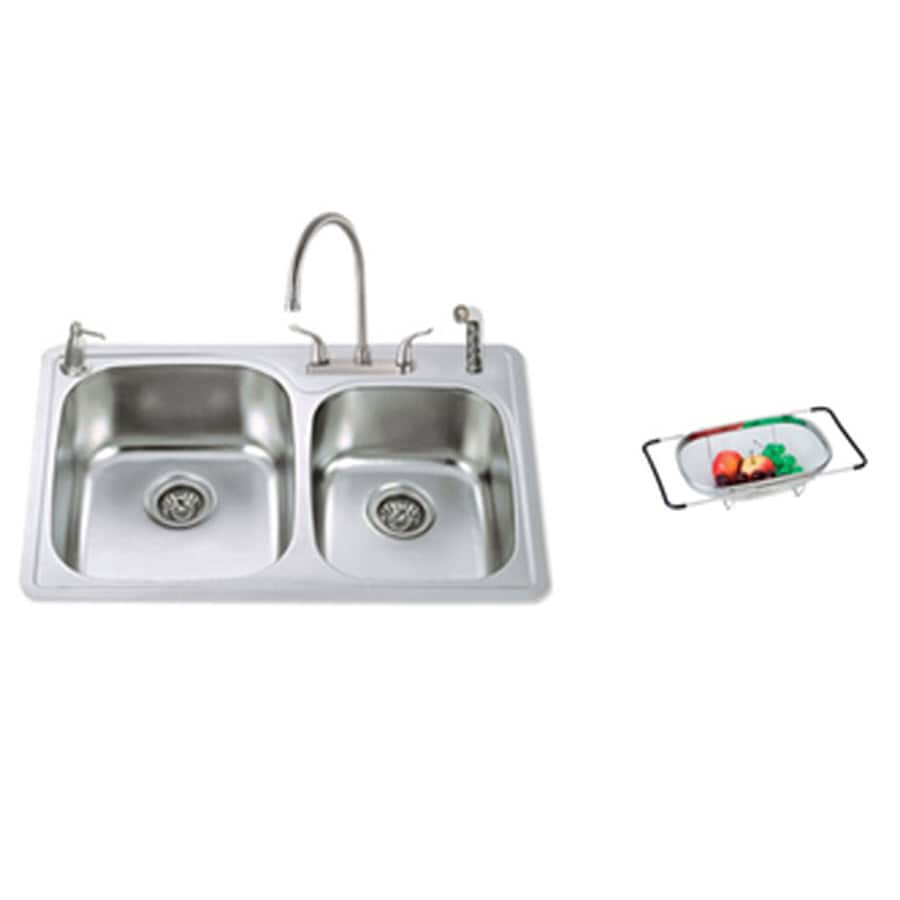 american standard double basin drop in stainless steel kitchen sink with faucet shop american standard double basin drop in stainless steel      rh   lowes com