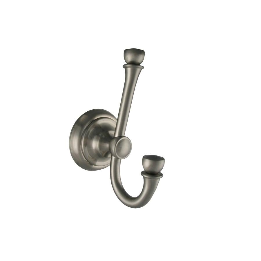 allen + roth Mitchell 2-Hook Brushed Nickel Robe Hook