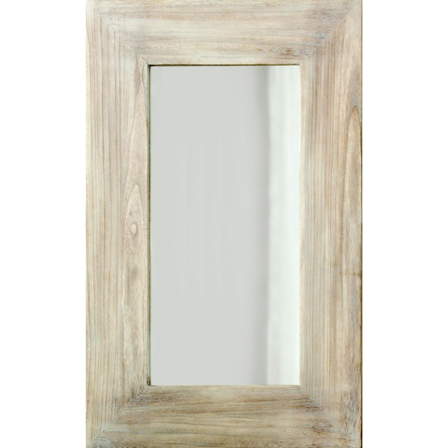 Columbia Frame White Wash Rectangle Framed Wall Mirror