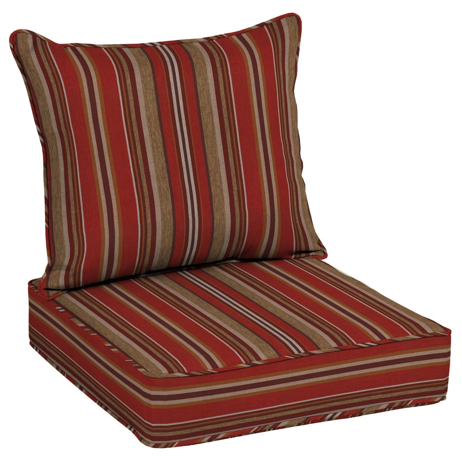 Patio Furniture Cushions: Allen + Roth 2-Piece Priscilla Stripe Red Deep Seat Patio