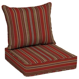 Allen + Roth 2 Piece Priscilla Stripe Red Deep Seat Patio Chair Cushion