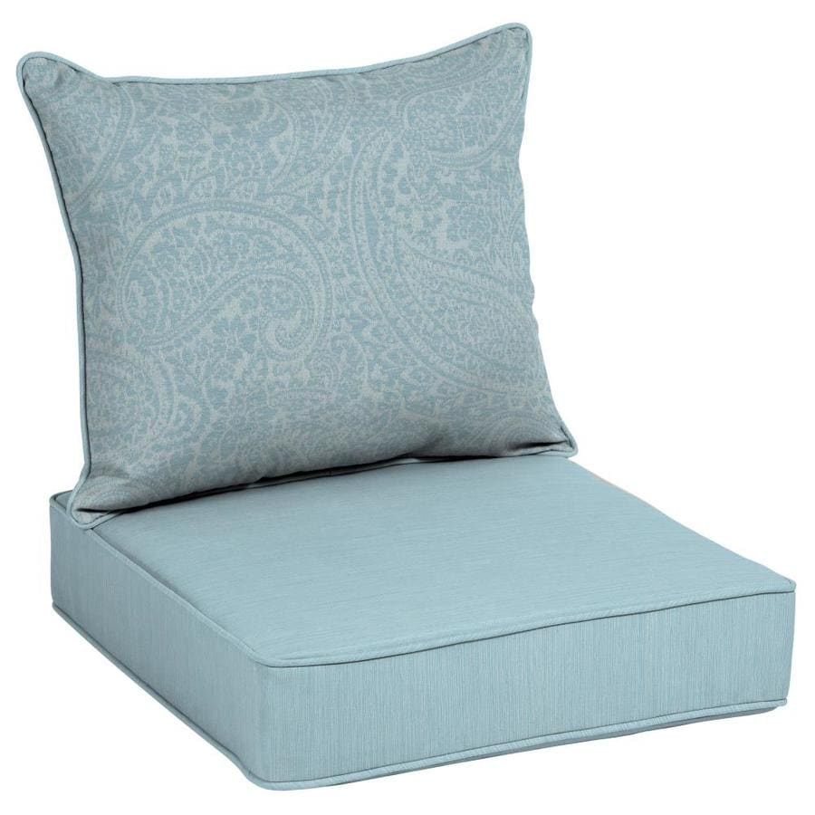 shop allen roth 2 piece spa blue kensley deep seat patio chair cushion at. Black Bedroom Furniture Sets. Home Design Ideas