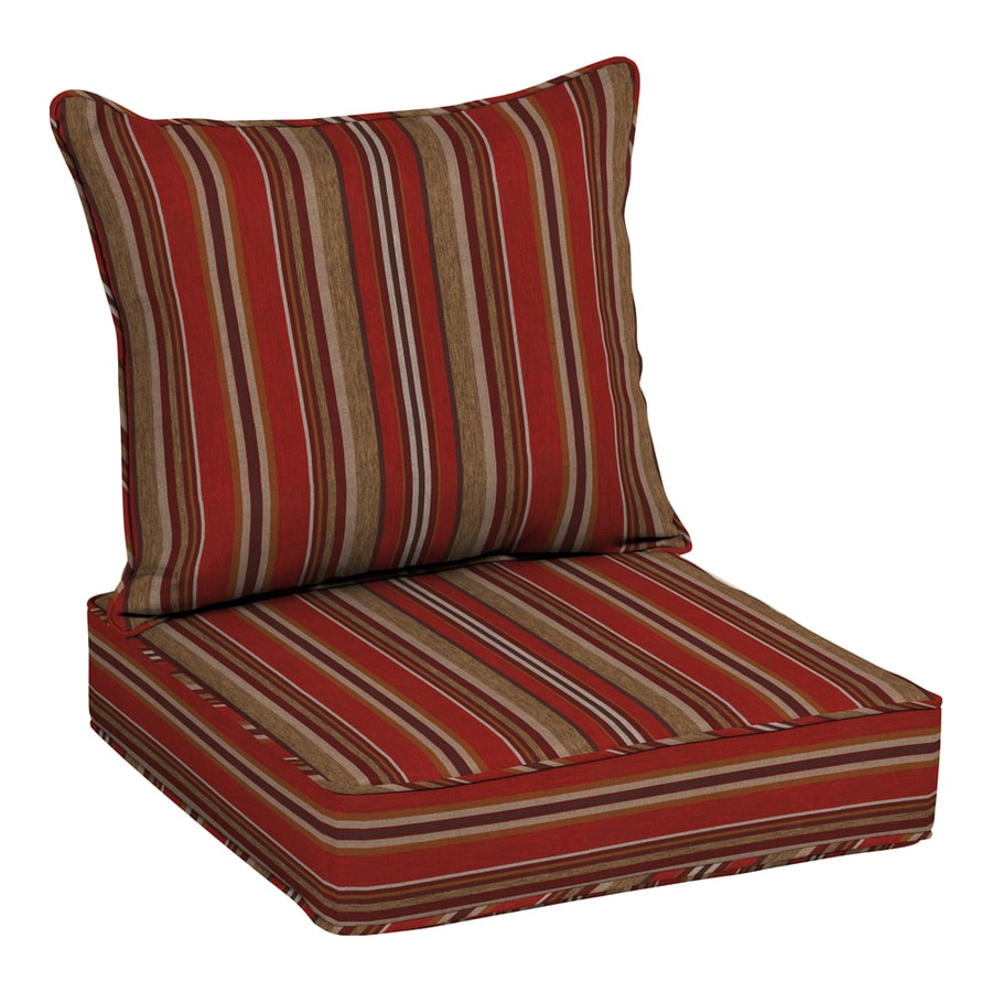 Merveilleux Allen + Roth Neverwet 2 Piece Priscilla Stripe Red Deep Seat Patio Chair  Cushion