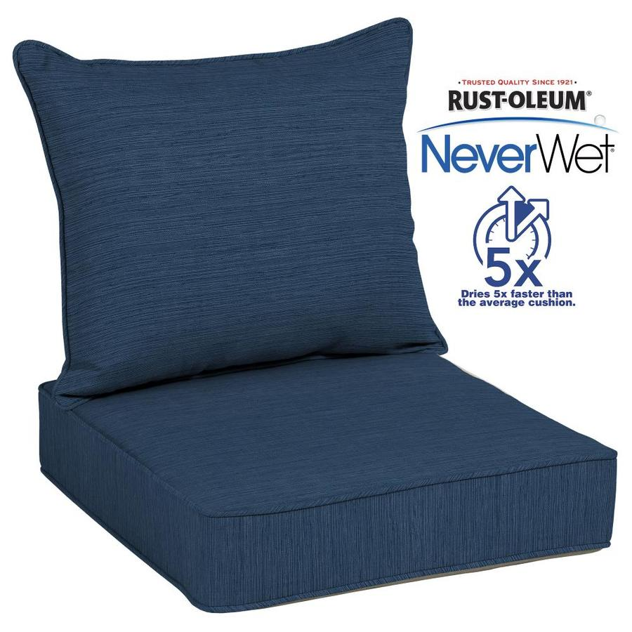 Allen + Roth Neverwet 2 Piece Navy Deep Seat Patio Chair Cushion