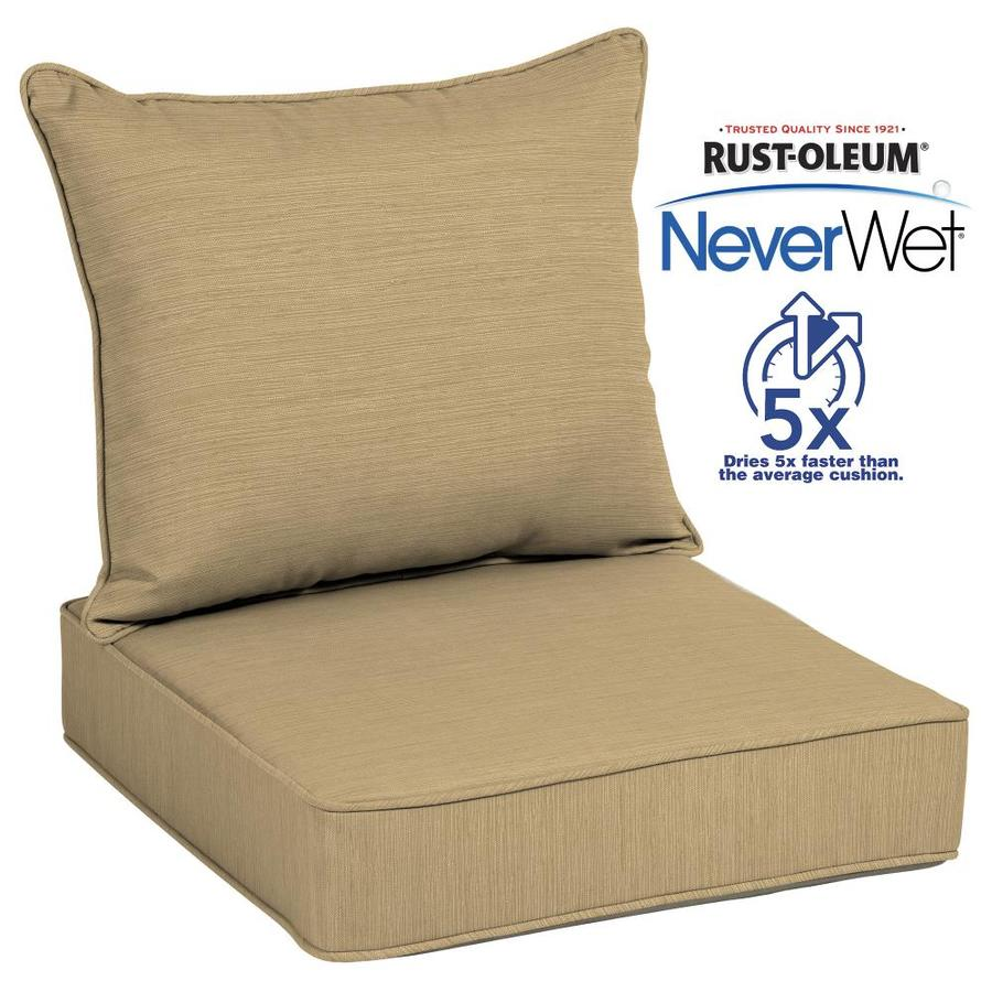 Allen + Roth Neverwet 2 Piece Wheat Deep Seat Patio Chair Cushion