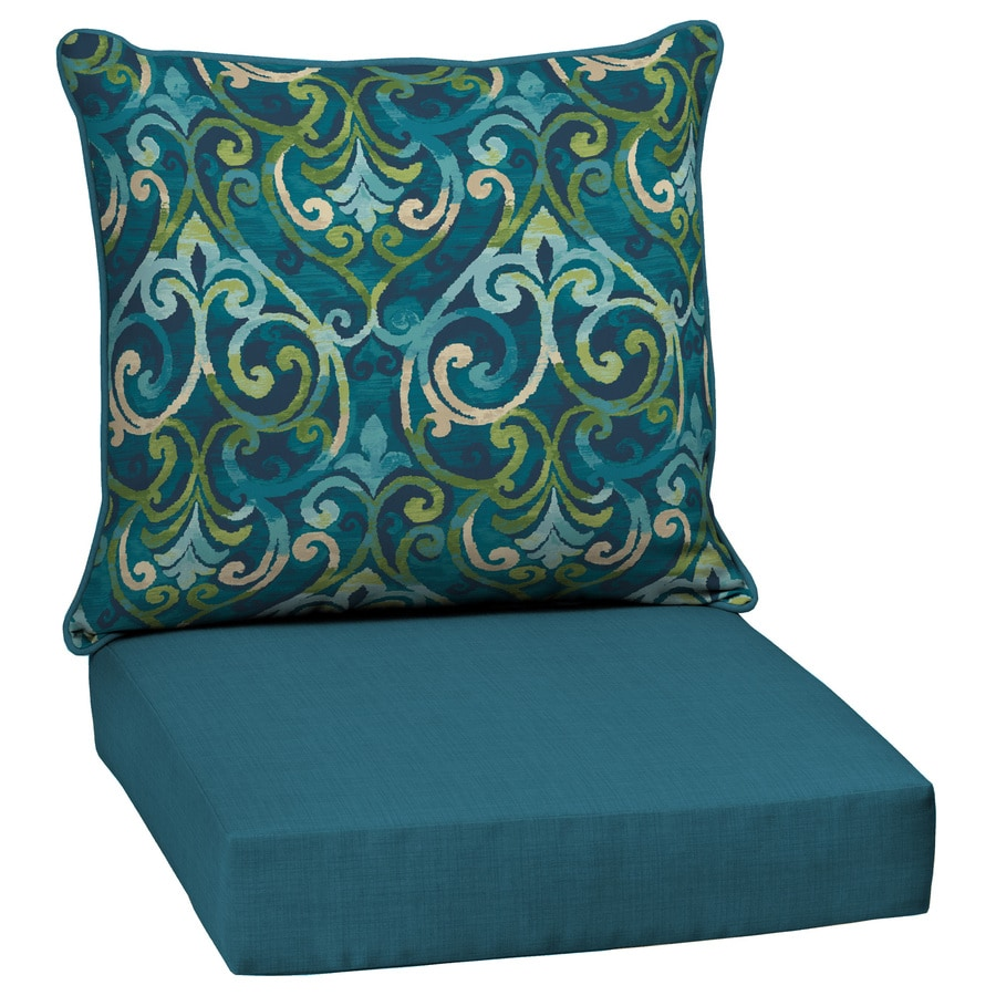 Shop garden treasures damask deep seat patio chair cushion for Patio furniture cushions
