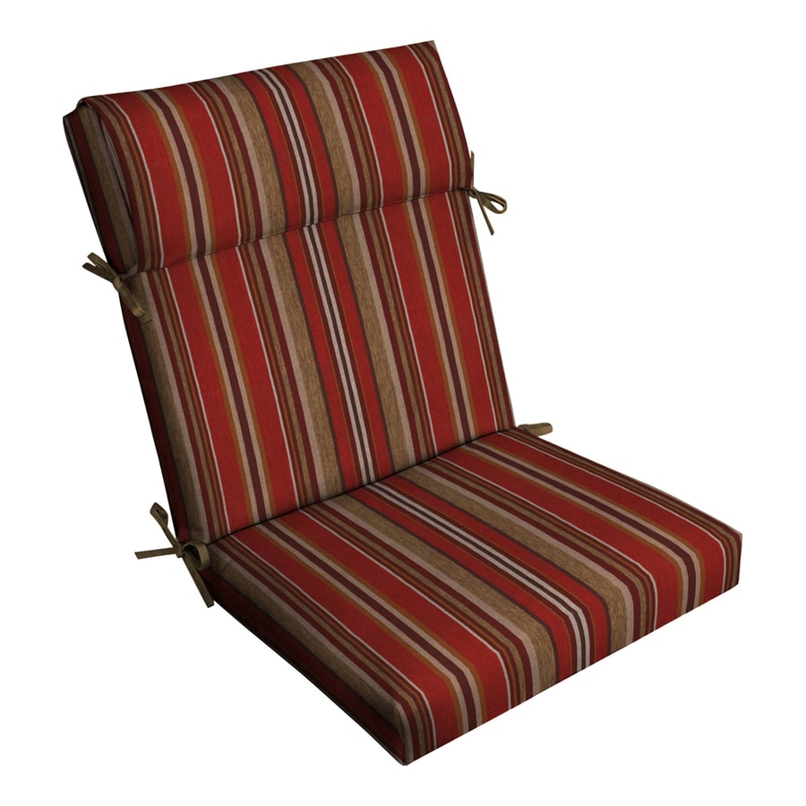 Allen Roth 1 Piece Priscilla Stripe Red High Back Patio Chair Cushion