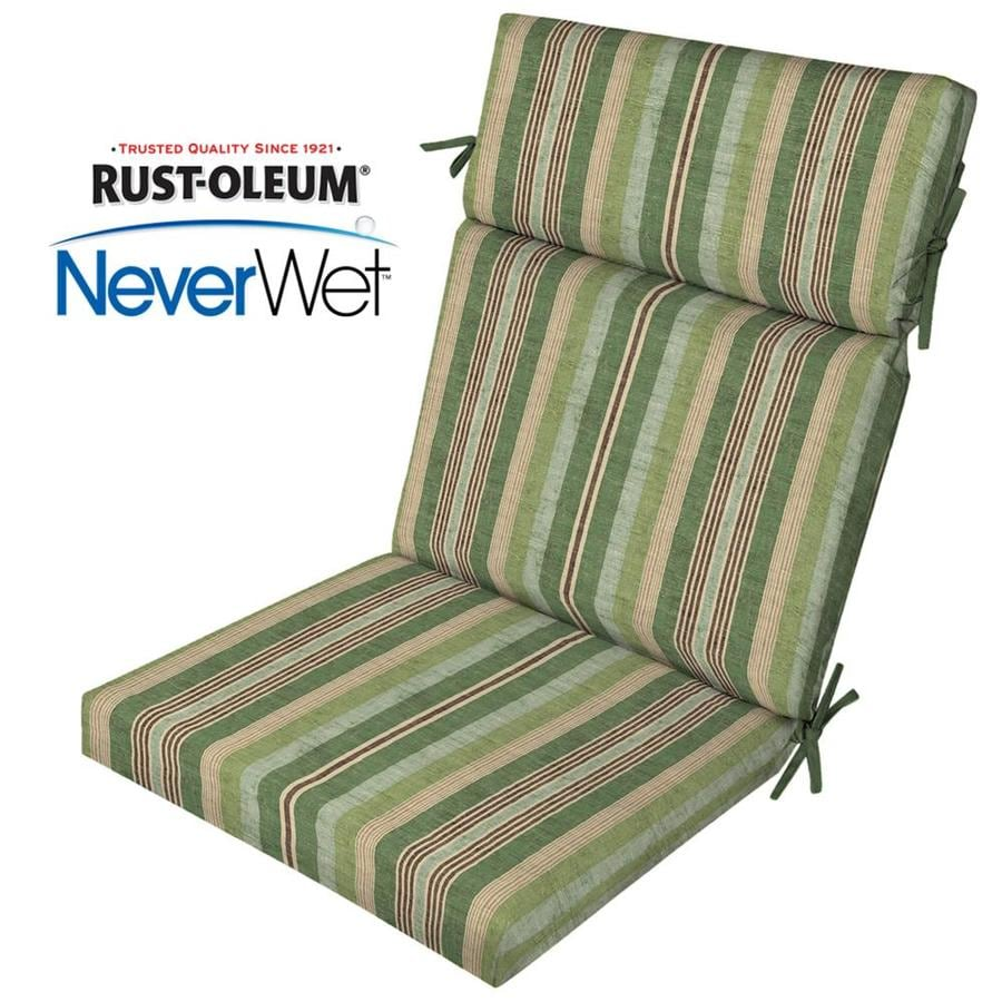 Allen Roth Neverwet 1 Piece Stripe Green High Back Patio Chair Cushion
