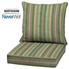 Allen + Roth Neverwet 2 Piece Stripe Green Deep Seat Patio Chair Cushion