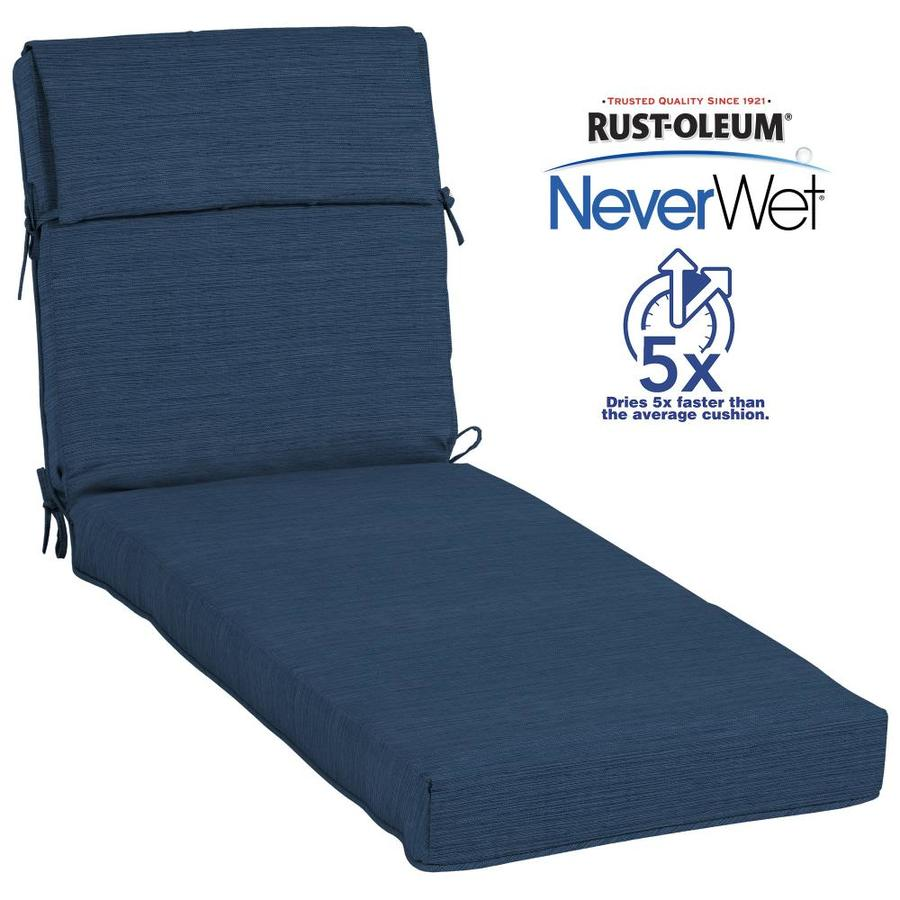 Allen + Roth Neverwet 1 Piece Navy Patio Chaise Lounge Chair Cushion