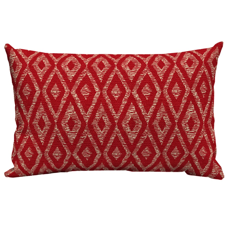 Garden Treasures Red Diam Ruby Red Diam Ruby and Geometric Rectangular Lumbar Pillow Outdoor Decorative Pillow