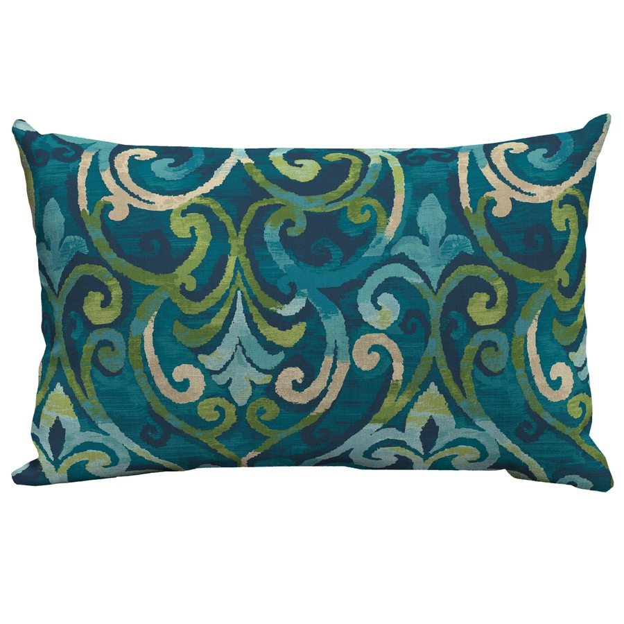 Navy blue and yellow decorative pillows - Garden Treasures Salito Marine Salito Marine And Paisley Rectangular Lumbar Pillow Outdoor Decorative Pillow