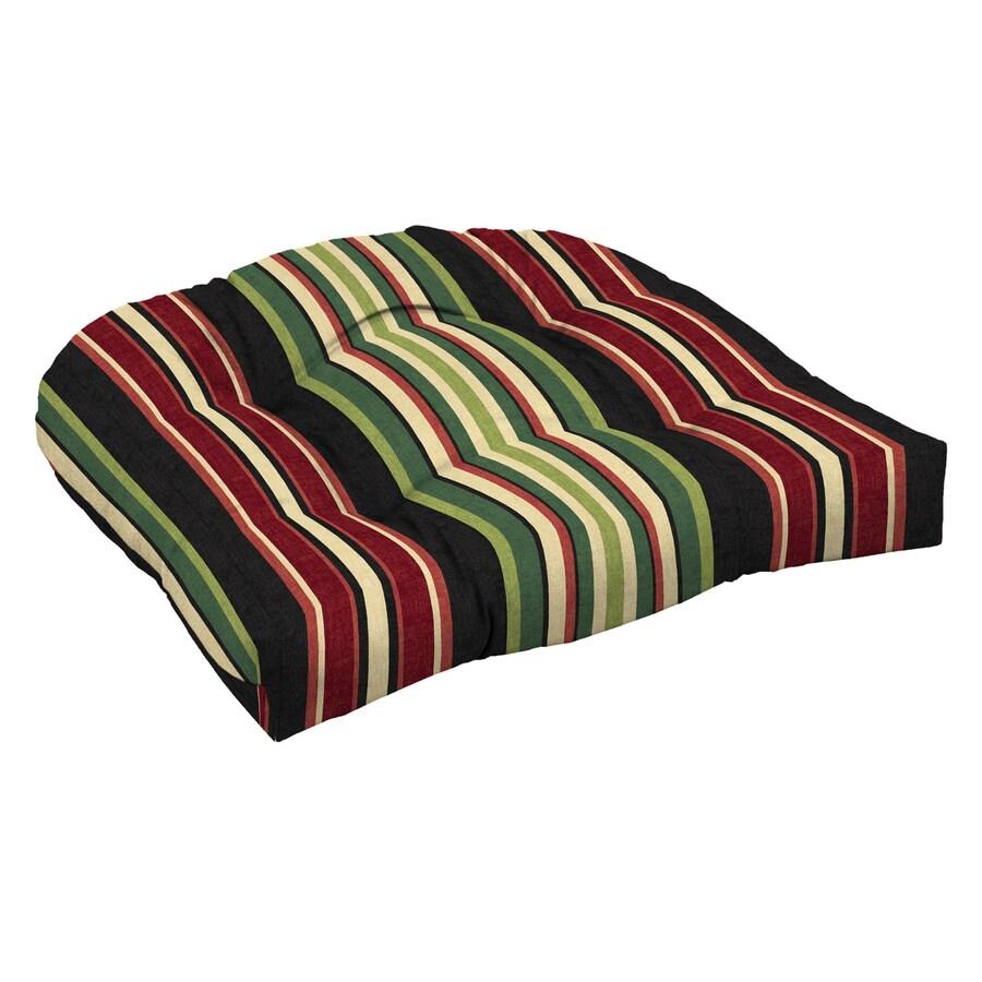 Garden Treasures Sanibel Black Stripe Standard Patio Chair Cushion
