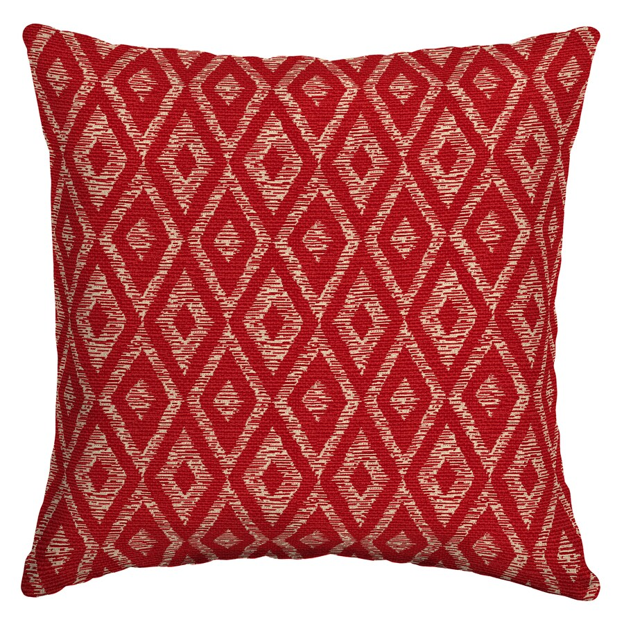 Garden Treasures Red Diam Ruby Red Diam Ruby and Geometric Square Throw Pillow Outdoor Decorative Pillow