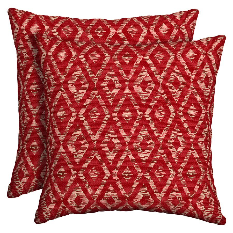 Garden Treasures Red Diam Ruby 2-Pack Red Diam Ruby and Geometric Square Throw Pillow Outdoor Decorative Pillow