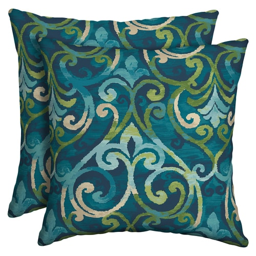 Style Selections 2 Pack Paisley Salito Marine Square Throw Pillow In The Outdoor Decorative Pillows Department At Lowes Com