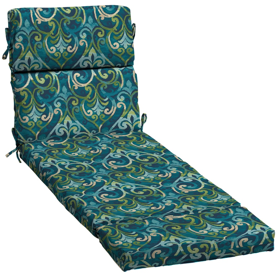 Garden Treasures Salito Marine Damask Standard Patio Chair Cushion for Chaise Lounge