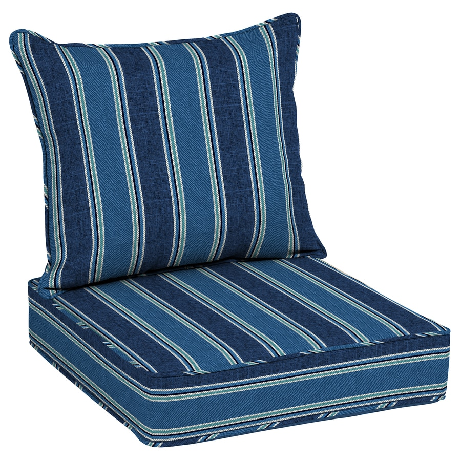 Allen + Roth 2 Piece Blue Coach Stripe Deep Seat Patio Chair Cushion