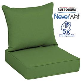 Allen + Roth Neverwet 2 Piece Green Deep Seat Patio Chair Cushion