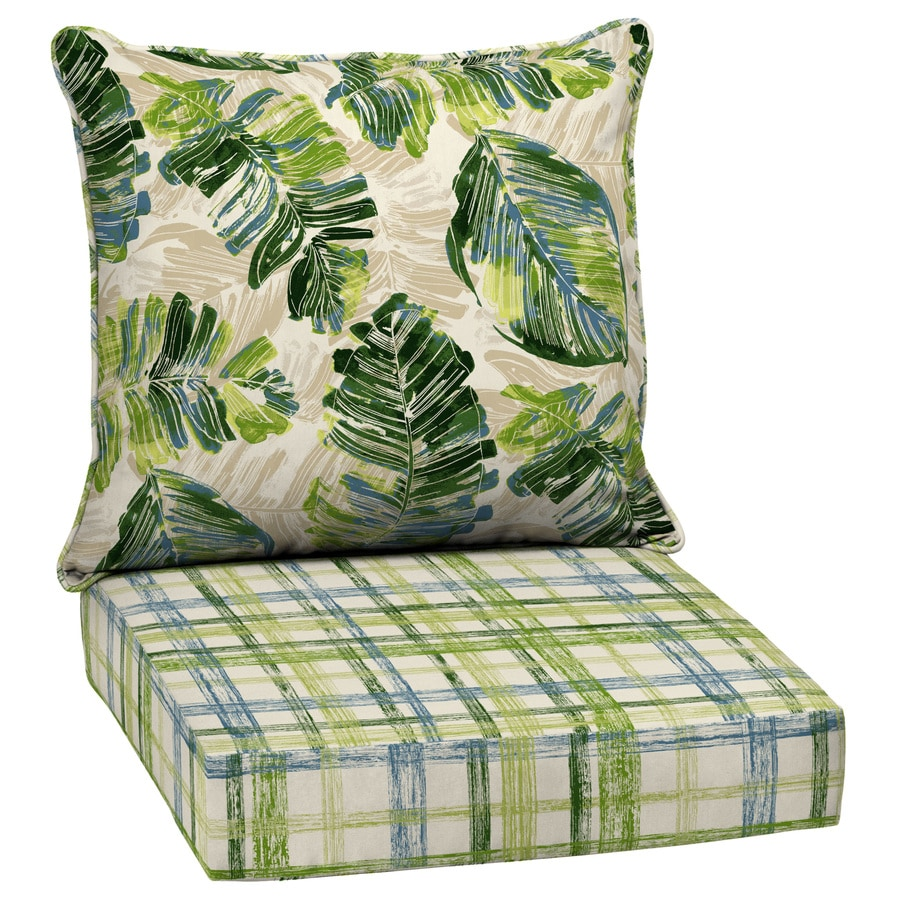 Garden treasures 2 piece palm leaf and plaid deep seat - Garden treasures replacement cushions ...