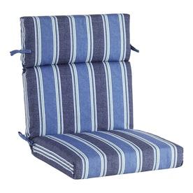 Allen + Roth 1 Piece Blue Coach Stripe High Back Patio Chair Cushion