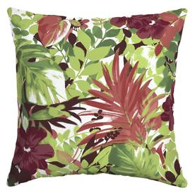Tropical Leaf Red Throw Pillow