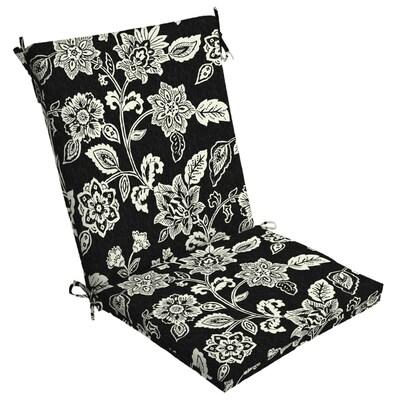 Peachy Black And Cream Ashland Jacobean Patio Chair Cushion Machost Co Dining Chair Design Ideas Machostcouk