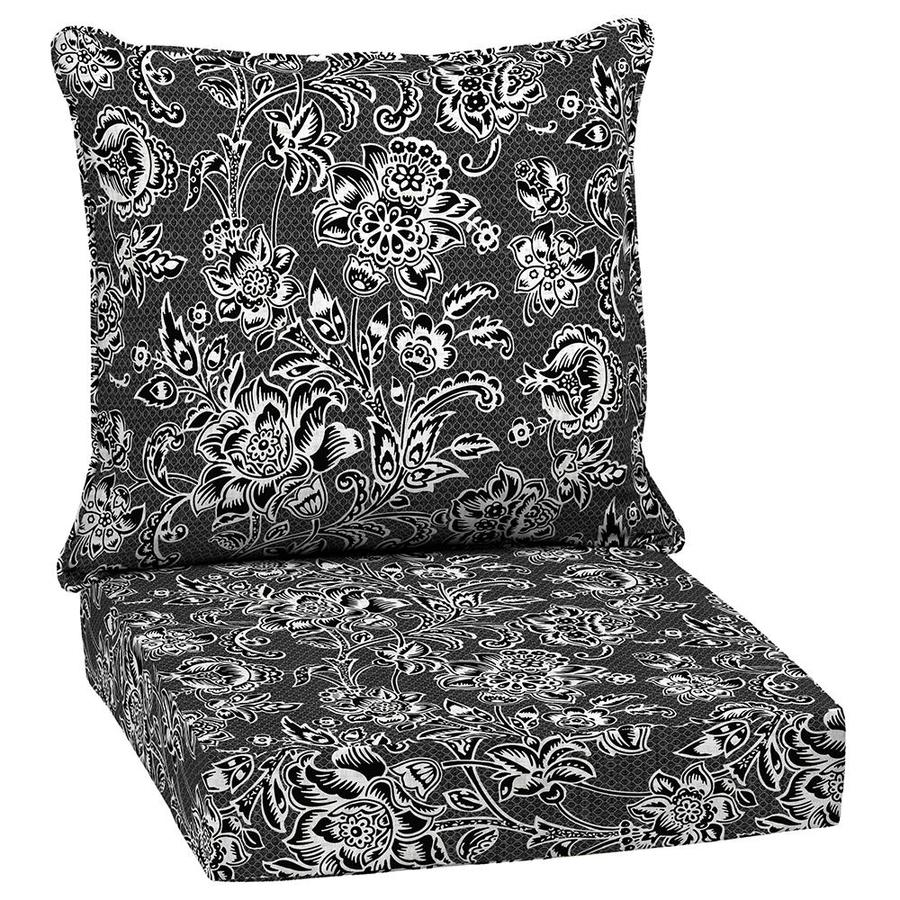 Garden treasures 1 piece black and white jacobean deep - Garden treasures replacement cushions ...