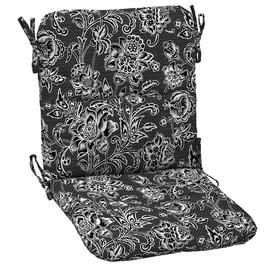 Patio Furniture Cushions White: Garden Treasures 1-Piece Black And White Jacobean Patio