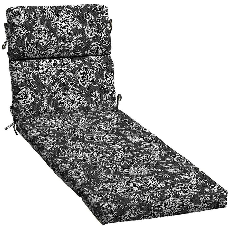 Patio Furniture Cushions White: Garden Treasures Black And White Jacobean Patio Chaise