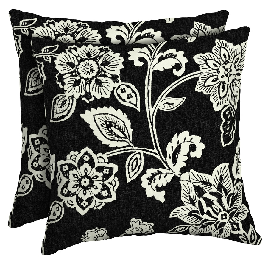 Arden Selections 2 Pack Floral Black And Cream Square Throw Pillow In The Outdoor Decorative Pillows Department At Lowes Com