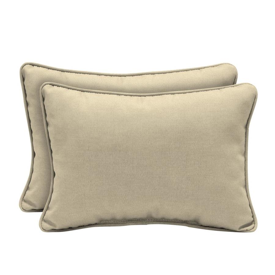 Arden Selections 2 Pack Solid Stone Rectangular Lumbar Pillow In The Outdoor Decorative Pillows Department At Lowes Com