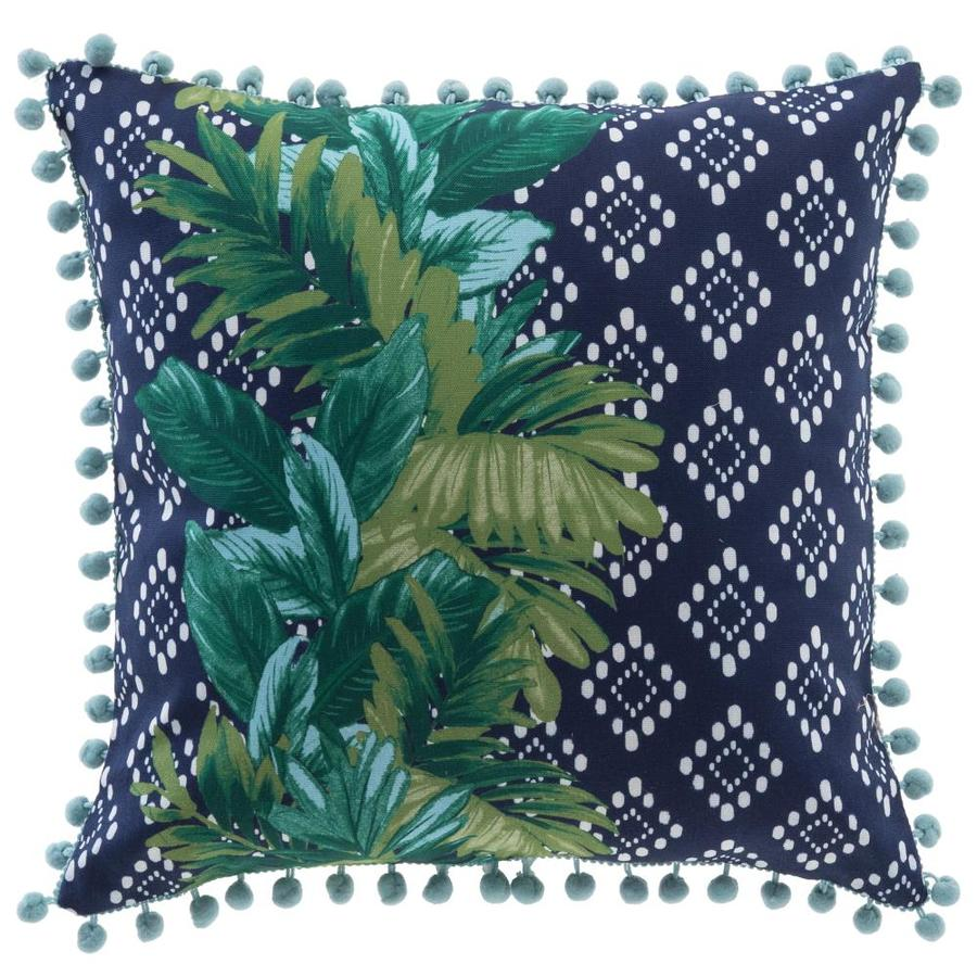 Allen Roth Pineapple Blue Outdoor Furniture Decorative Pillow With Jute Trim