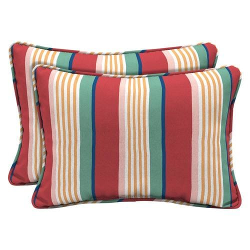 Arden Selections 2 Pack Striped Red Yellow Green Pink And Blue Rectangular Lumbar Pillow In The Outdoor Decorative Pillows Department At Lowes Com