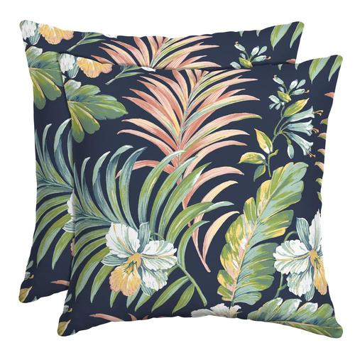 Arden Selections 2 Pack Floral Navy Green Teal Coral Yellow And White Square Throw Pillow In The Outdoor Decorative Pillows Department At Lowes Com